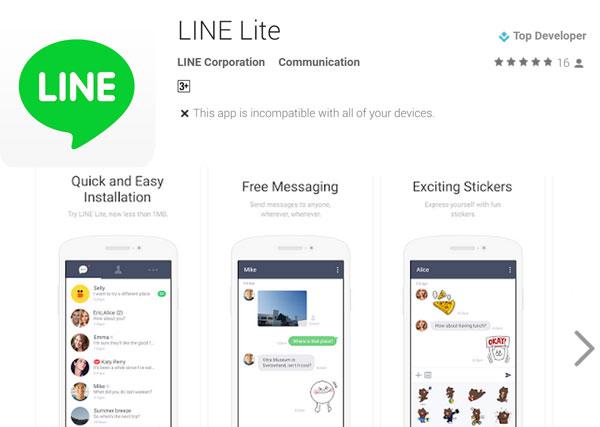 Versión reducida de Line, ahora llamada Line Lite
