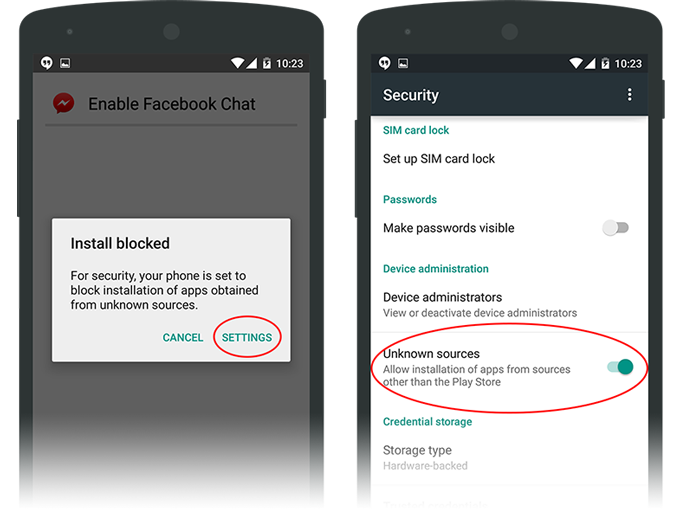 3. ถ้าเกิด Popup ขึ้นมาว่า Install Block ให้กด Setting  แล้วเลื่อนหาตัวเลือกว่า Unknown source ให้เปิดมันซะ จากนั้นกลับไปทำข้อ 2  ใหม่