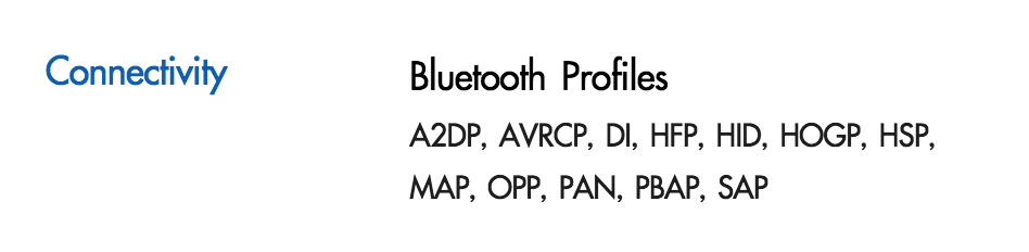 Bluetooth Profile ที่มีใน Samsung Galaxy S6