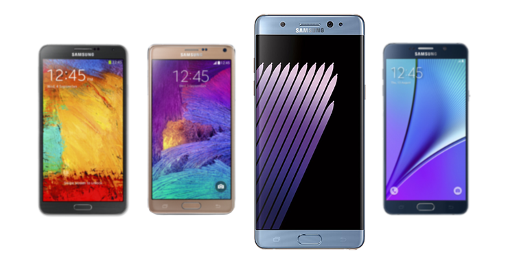 Compare Galaxy Note 7 vs Other Galaxy Note models