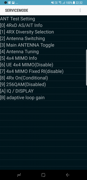 Galaxy S8 service mode (4x4MIMO & 256QAM are disabled)
