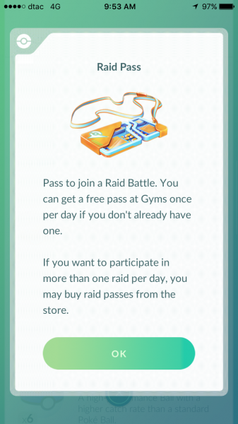 Pokemon Go Raid Battle - Raid Pass