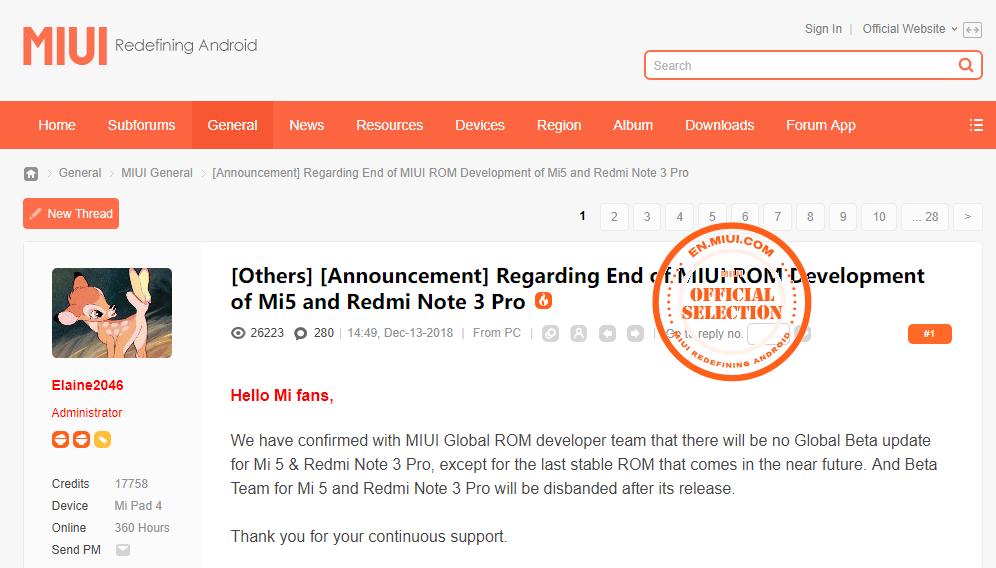 ผู้ใช้โวย หลัง Xiaomi แจ้งหยุดการอัปเดตซอฟท์แวร์สำหรับ Mi 5 และ