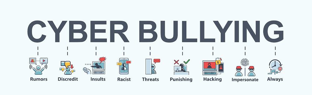 Cyber bullying, rumors, discredit, bullying, insult, racist, threat, harassment, hacking